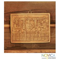 @Overstock - Handcrafted Ceramic 'Maya Coronation in Ochre' Wall Plaque (Mexico) - In this wall plaque, Kan Xul receives the crown of Palenque from his ancestor Pacal, considered the first great Maya ruler of the city. Working with ceramic, Angel Ceron replicates the 644-720 AD stela from Palenque.  http://www.overstock.com/Worldstock-Fair-Trade/Handcrafted-Ceramic-Maya-Coronation-in-Ochre-Wall-Plaque-Mexico/7967280/product.html?CID=214117 $26.99