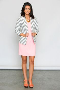I LOVE this little striped blazer! This could easily be dressed up or down - dressy with a shift dress and heels, paired with dress pants or casual with cropped jeans! Gorgeous! www.whiteplum.com #whiteplum #sp