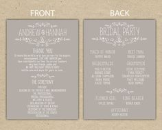 Wedding Program, wedding reception, wedding thank you. printable template. country chic (4054)
