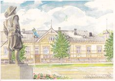 Market Square, the City Theatre of Kajaani. The statue of Per Brahe, the founder of Kajaani. Marja-Leena Tölli, akvarelli. 2000. Finland.