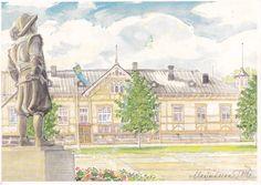 Market Square, the City Theatre of Kajaani. The statue of Per Brahe, the founder of Kajaani. Marja-Leena Tölli, akvarelli. 2000. Finland.