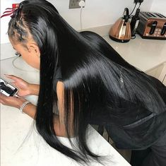 Lace Frontal Wigs Black Hair Wigs Lace Hair For Black Black Hair Wigs, Black Wig, Human Hair Lace Wigs, Remy Human Hair, Weave Hairstyles, Straight Hairstyles, Hair Quality, Lace Hair, Textured Hair