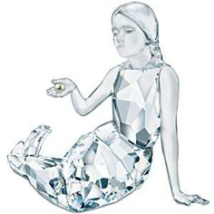 Swarovski Mermaid - pictured for reference only. - The Swarovski sitting mermaid in faceted clear crystal with unfaceted hair is holding a light Creamrose pearl. These mythical creatures are known. Swarovski Crystal Figurines, Swarovski Crystals, Crystal Decor, Clear Crystal, Sculpture Art, Sculptures, Mermaid Pictures, Mermaids And Mermen, Cool Inventions