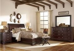 picture of Whitmore Cherry 5 Pc Queen Platform Bedroom  from Queen Bedroom Sets Furniture