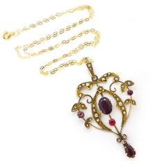 Antique Victorian 9ct Gold Garnet & Pearl Pendant Necklace | Clarice Jewellery | Vintage Costume Jewellery