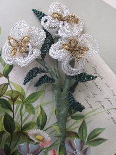 Mini Bouquet Victorian Glass Bead Flowers Folk by CornermouseHouse, $12.00