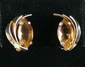 Vintage Amber Glass Clip On Earrings PAT PEND