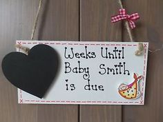 Personalised Pregnancy Countdown New Baby Birth Mum Plaque Sign Baby Shower Gift   eBay