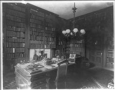 Desk, Books, Library Ladder, Rug, Light, Door; George Bancroft, 1800-1891
