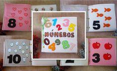 Livro de feltro tema Números em feltro e tecido <br> Formato 20x20 com…