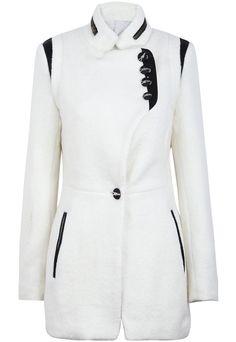 Abrigo de lana combinado polipiel manga larga-Blanco EUR€35.16