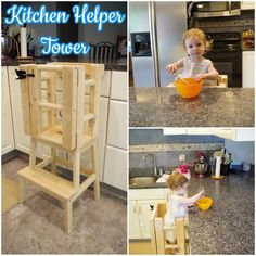 Once my daughter started walking around, we wanted to get her a Kitchen Helper Tower (also referred to as a Learning Tower) so she could be at counter height and. Toddler Kitchen Stool, Kitchen Step Stool, Kitchen Stools, Diy Kitchen, Step Stools, Woodworking Projects For Kids, Diy Woodworking, Wood Projects, Woodworking School