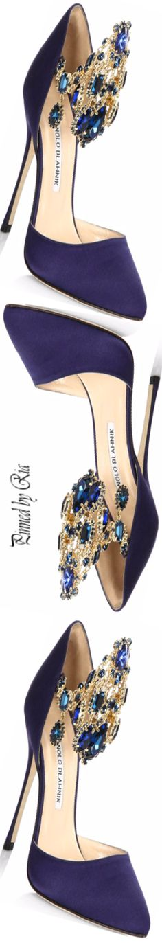 Manolo Blahnik Zullin Jewel-cuff Satin Pump