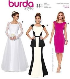 Burda 6869 Miss Evening Party Peplum Sheath Dress Bridal Gown Pattern Size 8 18 | eBay