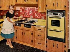 Retro ranch kitchen - autumn birch cabinets and bandana colors create a cheery California look - Retro Renovation Birch Cabinets, Kitchen Cabinets, Kitchen Pantry, Kitchen Appliances, Vintage Appliances, Kitchen Counters, Knotty Pine Kitchen, Countertop Makeover, Cabinet Makeover