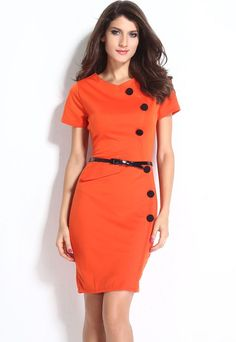 Robes Midi Casual Cap Manches Bouton Ceinture Decoration Robe Orange –…€18.34 modebuy.com