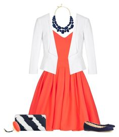 """Coral, white, and navy set"" by tracy-gowen ❤ liked on Polyvore featuring White House Black Market, Kate Spade, Chloé, Paul's Boutique and Kenneth Jay Lane"