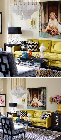 o sofá, o abajur, o lustre, o cinza-amarelo-p&b, a harmonia de cores