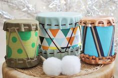 loooove // DIY Drums for Kids by great Handmade Charlotte Homemade Drum, Homemade Gifts, Diy Gifts, Kids Crafts, Craft Projects, Craft Kids, Diy Music, Diy For Kids, Gifts For Kids