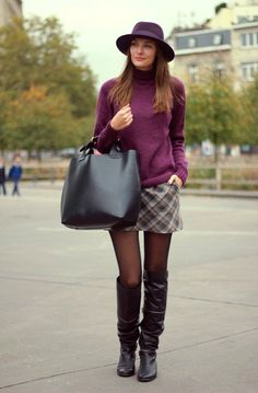 Black tights and long dark brown boots with plaid skirt and plum sweater