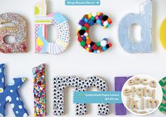Cute!  Kids decorate letters for playroom/area wall.  Can get the 3D plain paper letters here: http://www.landofnod.com/alphabet-wall-art/kids-room-decor/crafty-kraft-paper-letters/f9605