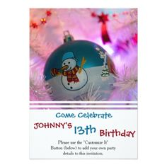 Snowman - christmas balls - merry christmas card - birthday cards invitations party diy personalize customize celebration