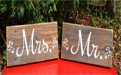 Rustic  Beach Wedding Sign STAND ALONE Reclaimed Wood Mr Mrs Signs Chair Hang Place Markers – Signs Of Love Co.
