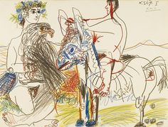 Pablo Picasso (Spanish, 1881-1973), Adolescents, aigle et âne [Adolescents, eagle and donkey], 6th March 1967. Coloured crayons on paper, 49.2 x 65 cm.