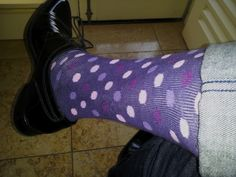 purple polka dots with cuffed jeans and a tuxedo jacket. Dinner date with my wife.