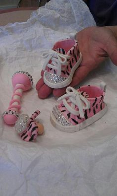 Handmade fondant baby shoe cake topper OMG TO DIE FOR HOW CUTE - zebra and bling