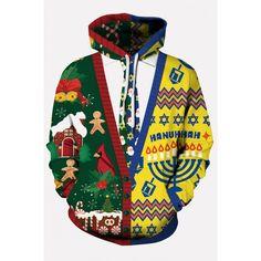 XTX Men Drawstring Stylish Pockets African Print Hoodie Pullover Sweatshirt