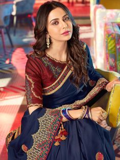 Rakul Preet Singh Navy Blue Silk Embroidered Saree with Fancy Tassels South Indian Silk Saree, South Silk Sarees, You Look Pretty, Pretty Face, Saree Blouse Neck Designs, Oxford Blue, Silk Sarees Online, Most Beautiful Indian Actress, Fashion Dresses
