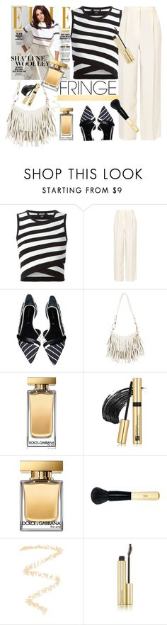 """""""Fringe bag"""" by gul07 ❤ liked on Polyvore featuring beauty, DKNY, The Row, Sergio Rossi, Yves Saint Laurent, Dolce&Gabbana, Estée Lauder, Bobbi Brown Cosmetics, Topshop and Kevyn Aucoin"""