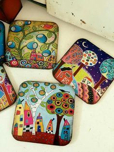 Handpainted Tiles by emily Pottery Painting, Ceramic Painting, Ceramic Art, Clay Projects, Clay Crafts, Arts And Crafts, China Painting, Dot Painting, Painted Rocks