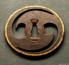 "TSUBA | Samurai sword guard (Tsuba) with ""two comma"" ( futatsudomoe ..."