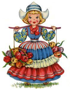 Cute Retro Dutch Doll Image! - The Graphics Fairy