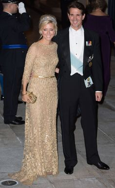 Prince Pavlos of Greece and his wife Marie-Chantal arrive for the Luxembourg royal wedding dinner gala