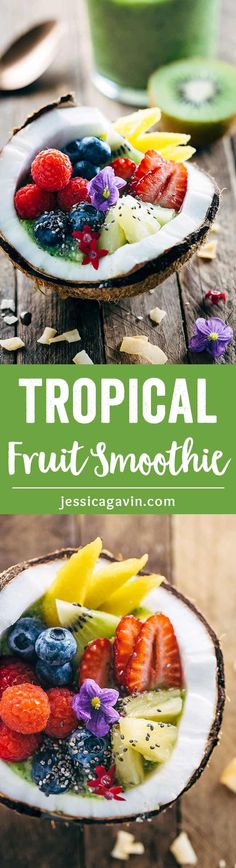 Refreshing Tropical Kiwi Coconut Smoothie - This drink will instantly make you feel like you're on a island getaway! Enjoy as a beverage or bowl. | jessicagavin.com