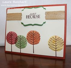 fall-trees, Totally Trees Stampin' Up Stamp set, Tin of Cards Stampin' Up Stamp Set, Burlap Ribbon, Decorative Label Punch, Holiday Mini Catalog, www.LaurasStampPad.com