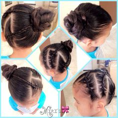 Simple three braids hair style for little girls