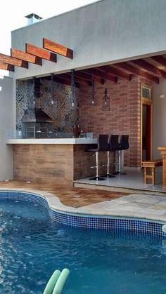 Superior homemade outdoor bar ideas just on neuron home design Backyard Pool Designs, Patio Design, Backyard Patio, Landscaping Design, Swimming Pools Backyard, Swimming Pool Designs, Pool Houses, Home Deco, Architecture Design