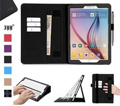 Galaxy Tab Case, Samsung Galaxy Tab Case, Fyy [Super Functional Series] Premium PU Leather Case Stand Cover with Card Slots, Note Holder, Quality Hand Strap and Elastic Strap for Samsung Galaxy Tab Black (With Auto Wake/Sleep Feature) Leather Case, Pu Leather, Samsung Tabs, Samsung Galaxy, Note Holders, Computer, Cover, Slot, Cell Phone Accessories