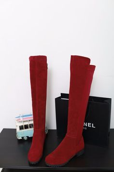 Fashion Over The Knee Boots Round Toe For All Purpose Sexy Women Ladies High Quality Nubuck Genuine Leather Black Wine Red