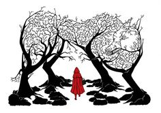 """petit chaperon rouge"" black & white #illustration. Clear and simple. Michael Lomax,  UK based #illustrator. www.mjlomax.co.uk"