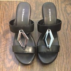🎉HP🎉 BCBG Black Wedges 🎉Cozy Chic HP on 1/11/16 by @tamiller🎉Worn only once but has a few marks on toe area, sides a d one small smudge on silver buckle as pictured. No box. Great shoes just too high for me. Please ask all questions prior to purchase. Sz 10 but can also fit 9.5 nicely BCBGeneration Shoes Wedges