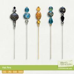Hat Pins  | CU/Commercial Use #digital #scrapbook #design tools at CUDigitals.com #digitalscrapbooking