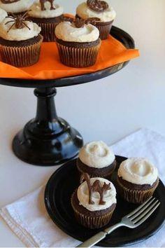 Pumpkin Buttercream Cupcakes with Chocolate Halloween Toppers | i am baker | #Baker: #buttercream #chocolate #cupcakes #Halloween #Pumpkin #toppers #with