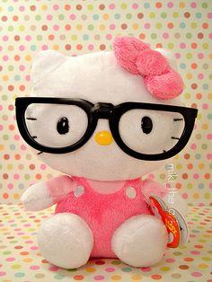 Kello Kitty Plush - Glasses    #hello kitty #nerd #hipster #kawaii #sanrio #pink