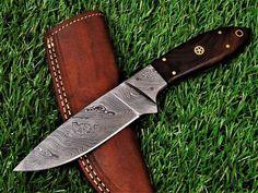 CUSTOM HANDMADE DAMASCUS SKINNER KNIFE WITH LEATHER SHEATH Damascus Sword, Damascus Ring, Damascus Steel, Martial Arts Equipment, Cleaver Knife, Dagger Knife, Knife Handles, Tactical Knives, Custom Knives