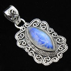 "BALI STYLE -Rainbow Moonstone Marquise shape 925 Sterling Silver Pendant 1.3"" #Handmade #Pendant #Birthday"